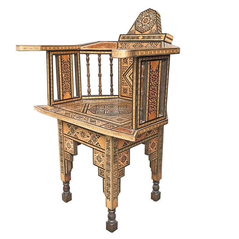 Moorish Early 20th Century Syrian Armchair For Sale