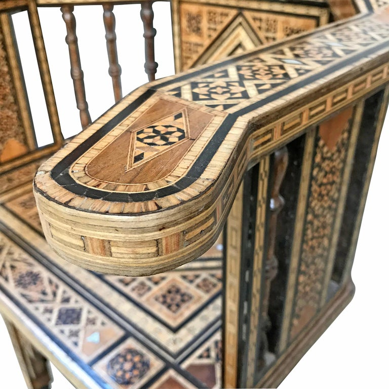 Mother-of-Pearl Early 20th Century Syrian Armchair For Sale