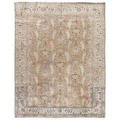 Early 20th Century Tabriz Beige Handwoven Wool Rug