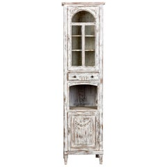 Early 20th Century Tall Narrow French Oak Cabinet with White Paint