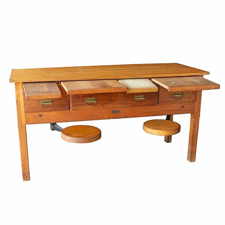 American Early 20th Century Tandem Lab Desk For Sale