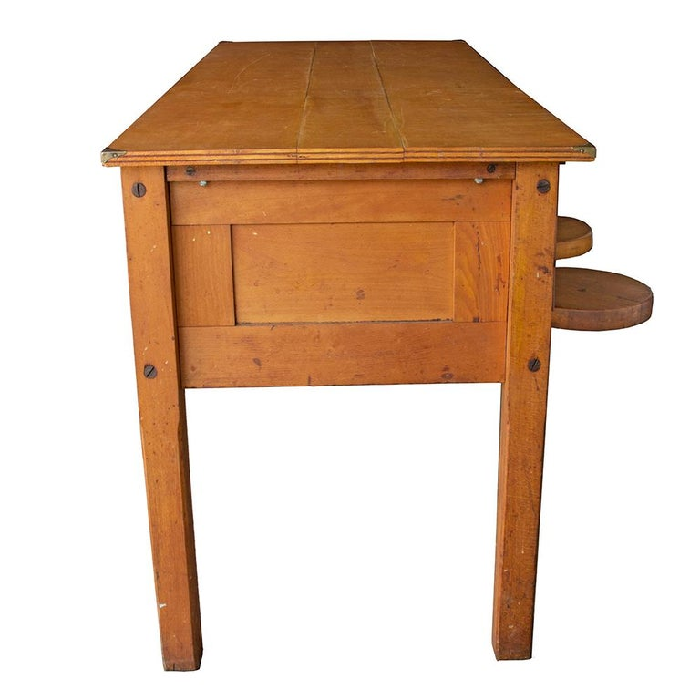 Maple Early 20th Century Tandem Lab Desk For Sale