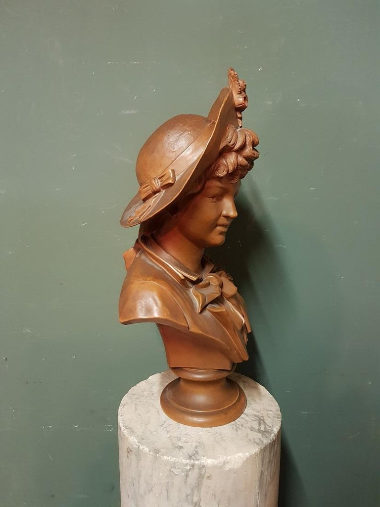 Early 20th Century Terracotta Bust of an Elegant Young Lady with a Hat For Sale 3
