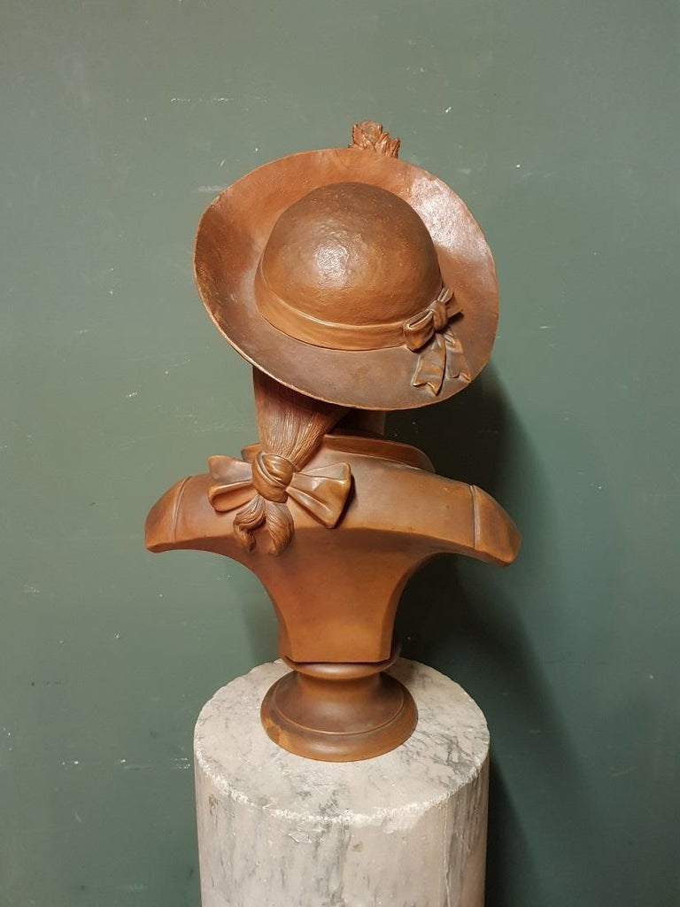 Early 20th Century Terracotta Bust of an Elegant Young Lady with a Hat For Sale 4