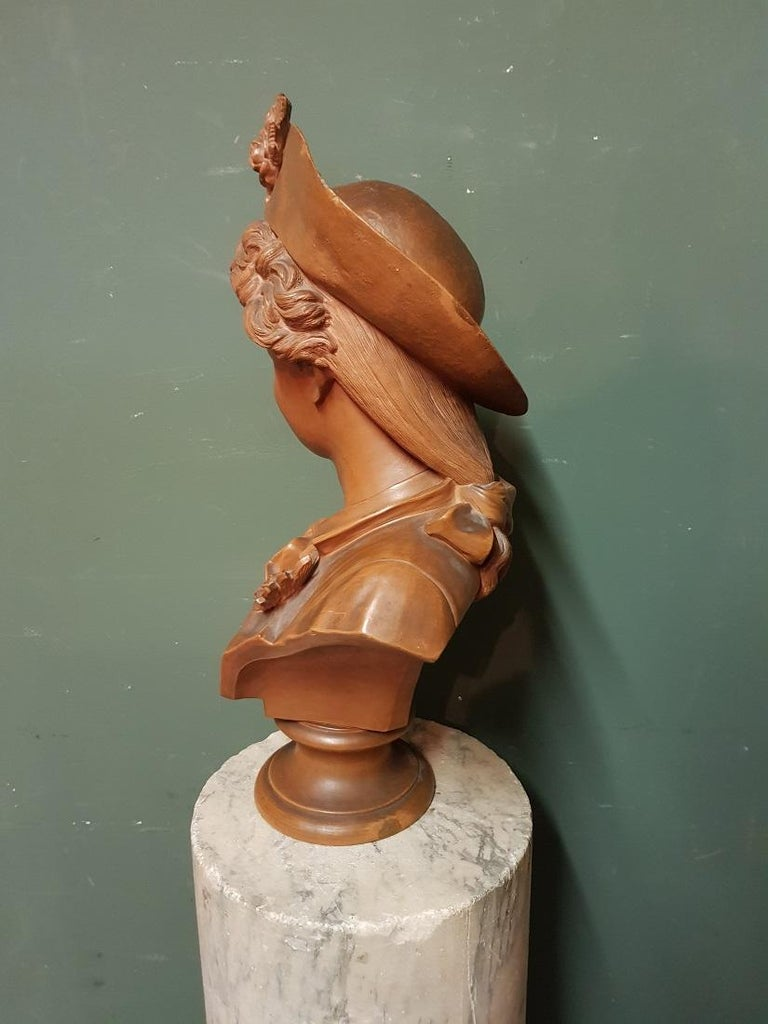 Early 20th Century Terracotta Bust of an Elegant Young Lady with a Hat For Sale 5