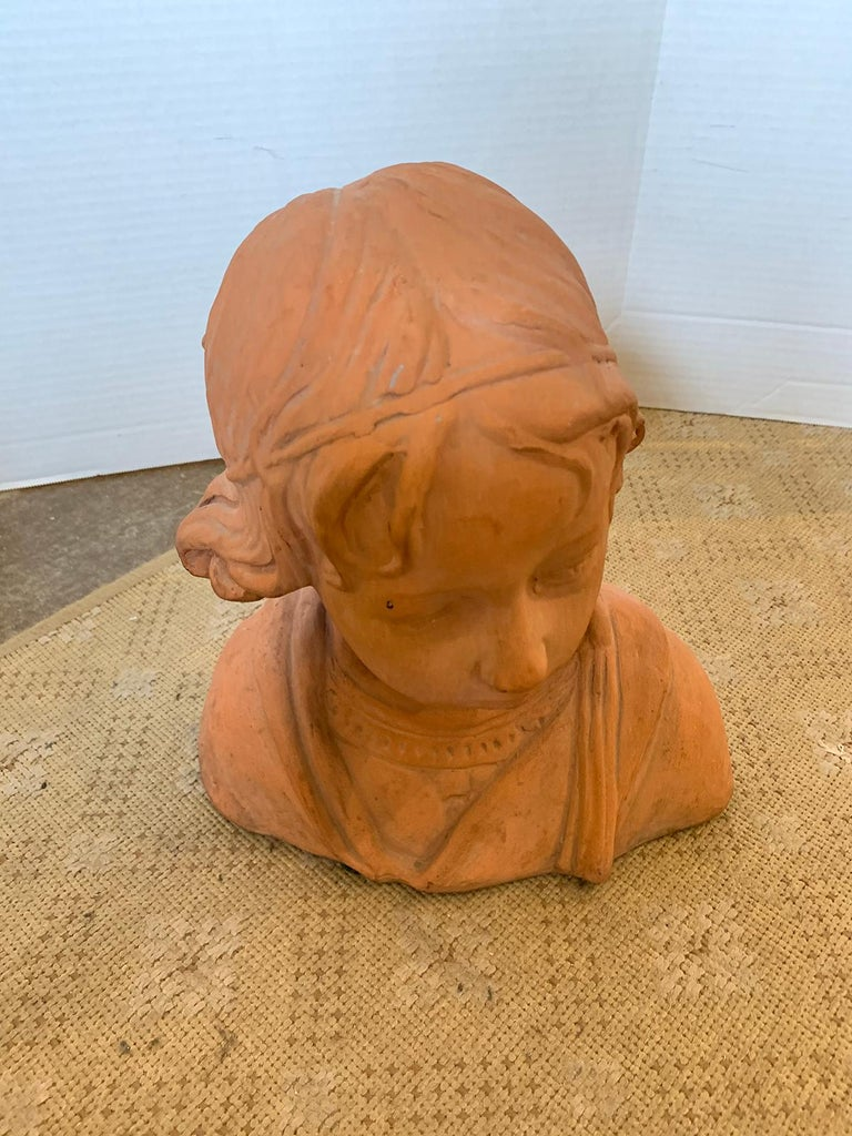 Early 20th Century Terracotta Bust of Child In Good Condition For Sale In Atlanta, GA