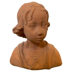 Early 20th Century Terracotta Bust of Child