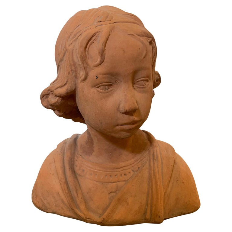 Early 20th Century Terracotta Bust of Child For Sale