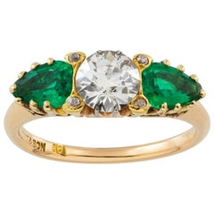 Early 20th Century Three-Stone Emerald and Diamond Ring