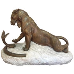 Early 20th Century Tiger and Snake Fighting Bronze Signed by Robert Bousquet