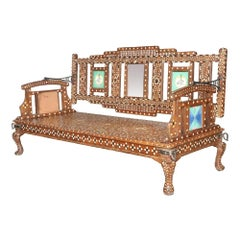 Early 20th Century Tiled Swing Bench with Bone Inlay, 20th Century