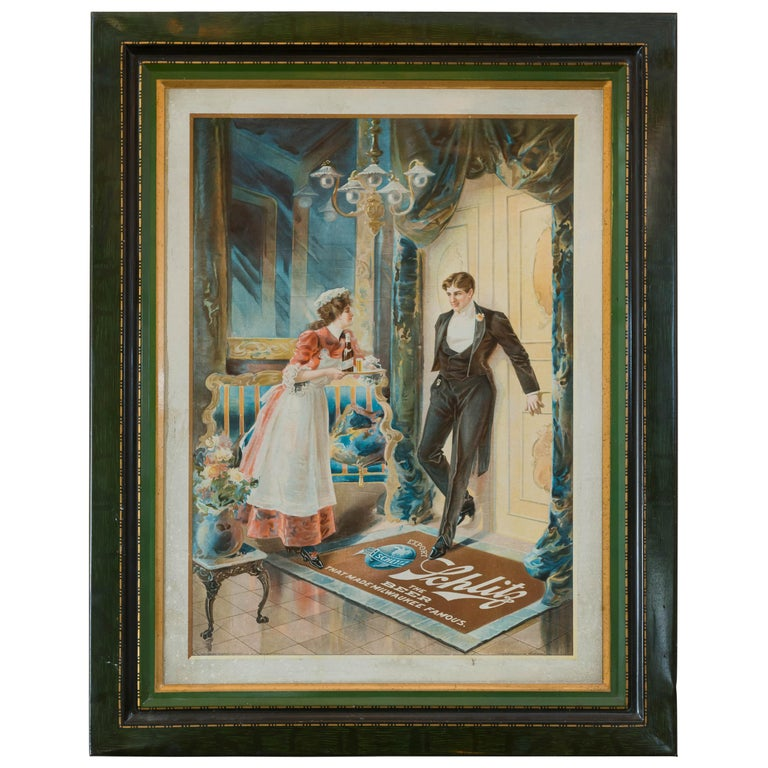 Early 20th Century Tin Lithograph Advertising Schlitz Beer, Milwaukee Wisconsin For Sale