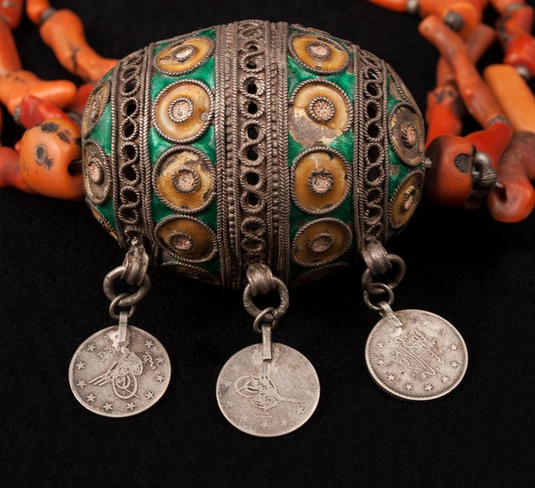 North African Early 20th Century Tribal Coral and Silver Pendant Necklace, Morocco
