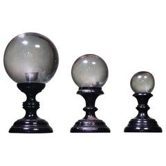 Early 20th Century Trio of Graduated Glass Optical Scientific Spheres