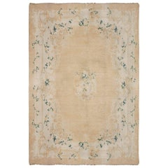 Early 20th Century Turkish Angora Oushak Beige and Ivory Hand Knotted Mohair Rug