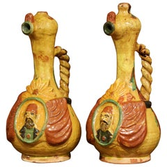 Early 20th Century Turkish Ceramic Hand-Painted Oil Pitchers with Handles, Pair