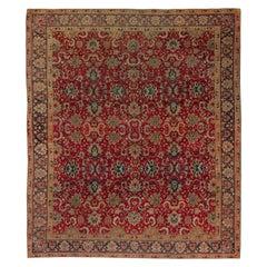 Early 20th Century Turkish Hereke Purple and Green Handwoven Wool Rug