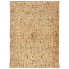 Early 20th Century Turkish Oushak Beige Handmade Wool Rug