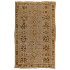 Early 20th Century Turkish Oushak Brown and Beige Handmade Wool Rug