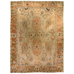 Early 20th Century Turkish Oushak Cream and Brown Handmade Wool Rug
