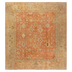Early 20th Century Turkish Oushak Gold, Green, Orange and Pink Rug