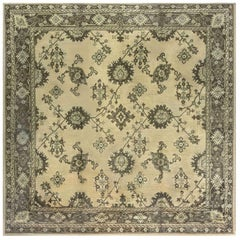 Early 20th Century Turkish Oushak Handmade Wool Rug in Beige and Green