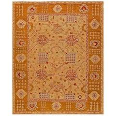 Early 20th Century Turkish Oushak Handmade Wool Rug in Warm Tan and Beige