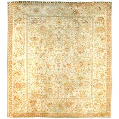 Early 20th Century Turkish Oushak Large and Square Room Size Carpet