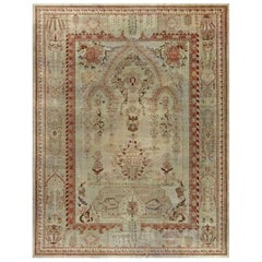 Early 20th Century Turkish Oushak Pink, Red, Beige and Gray Handmade Rug