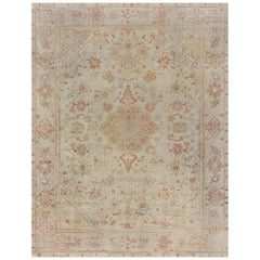 Early 20th Century Turkish Oushak Rug in Beige, Gold, and Orange