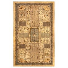 Early 20th Century Turkish Sivas Brown, Green and Beige Handwoven Wool Carpet