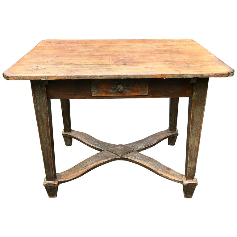Early 20th Century Italian Tuscan Farm Table Or Kitchen Prep Italy