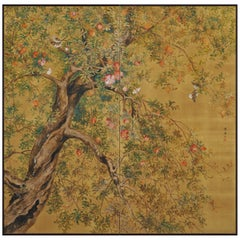 Early 20th Century Two-Panel Japanese Silk Screen, Pomegranate and Small Birds