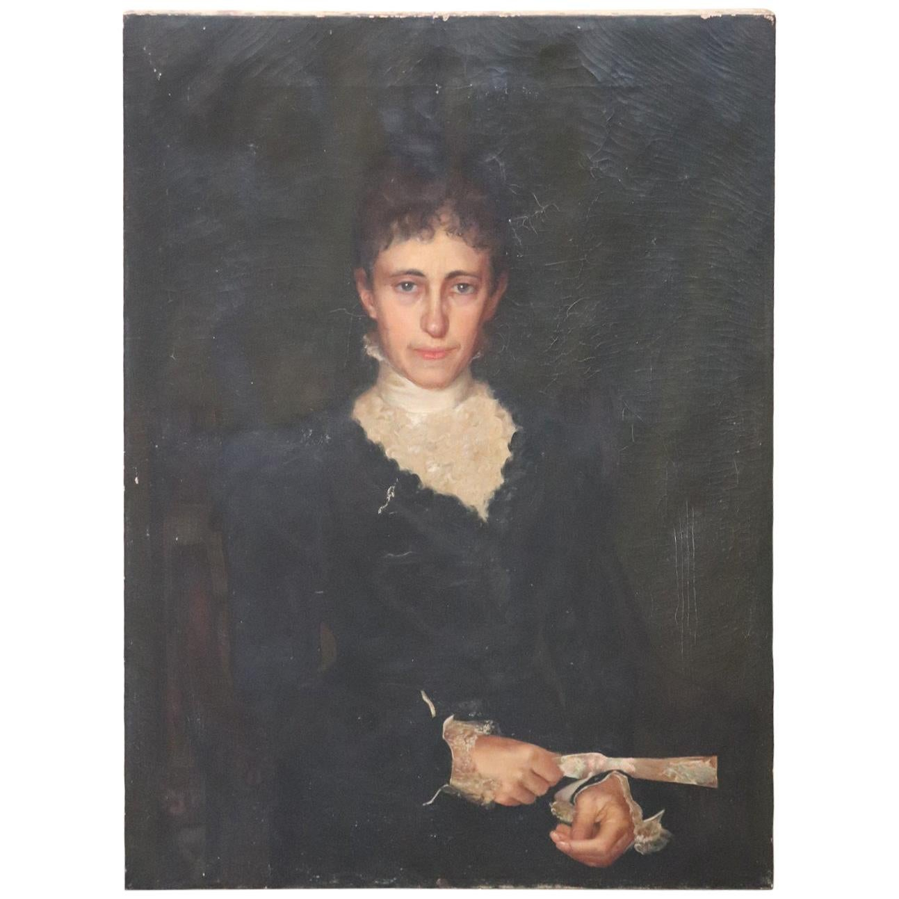 Early 20th Century Unknown Artist Portrait of Lady, Oil Painting on Canvas