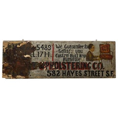 "Early 20th Century ""Upholstery Shop"" Hand Painted Sign, circa 1920"