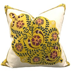 Early 20th Century Uzbek Suzani Pillow