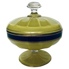 Early 20th Century Vaseline Glass Candy Dish