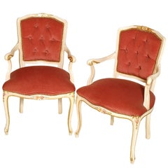 Early 20th Century Venetian Baroque Armchairs, Lacquered Pink Velvet Upholstered