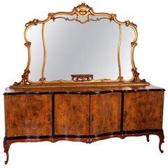 Early 20th Century Venetian Baroque Mirrored Sideboard Carved Walnut Burl Walnut