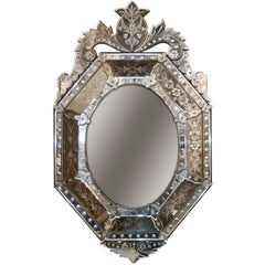 Early 20th Century Venetian Etched Cushion Mirror