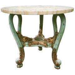Early 20th Century Venetian Occasional Table Carved, Polychrome with Marble Top