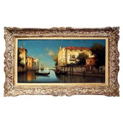 Early 20th Century Venice Oil Painting in Carved Frame Signed Alphonse Lecoz