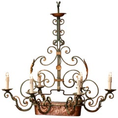 Early 20th Century Verdigris Iron Six-Light Chandelier with Copper Jardinière