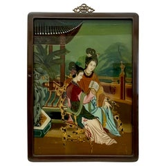 Early 20th Century Verre Eglomise Chinese Export Reverse Glass Painting