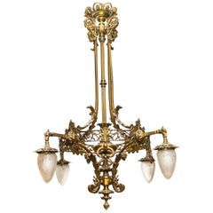 Early 20th Century Victorian Style Four-Light Bronze Chandelier