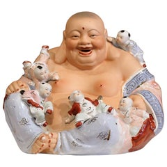 "Early 20th Century Vietnamese Hand-Painted Porcelain ""Happy Buddha"" Sculpture"