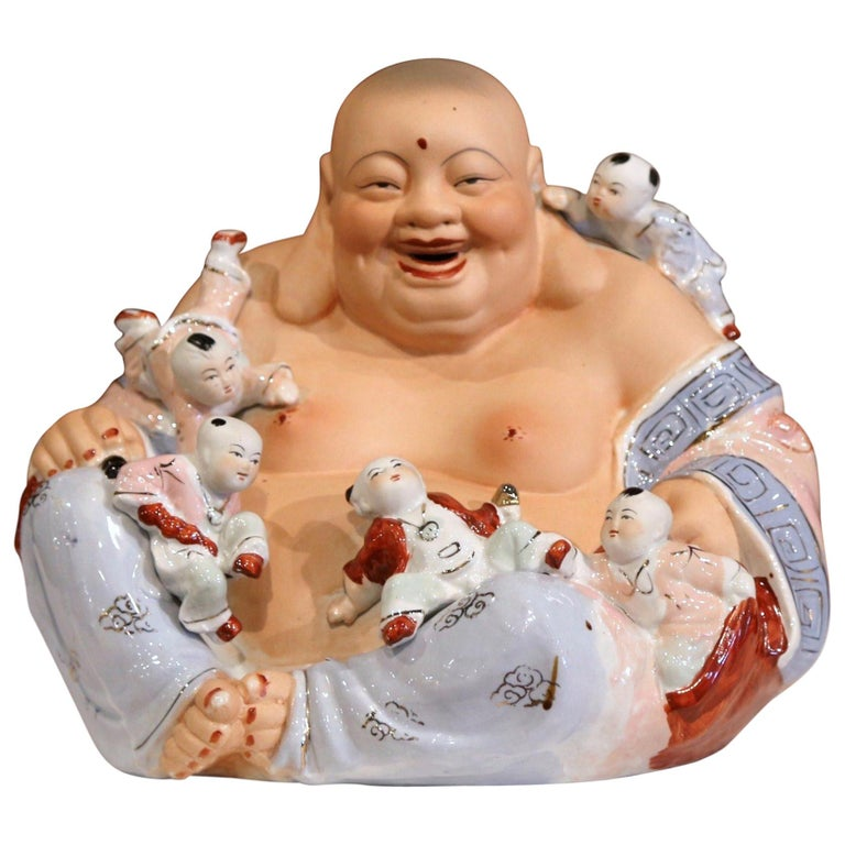 "Early 20th Century Vietnamese Hand-Painted Porcelain ""Happy Buddha"" Sculpture For Sale"