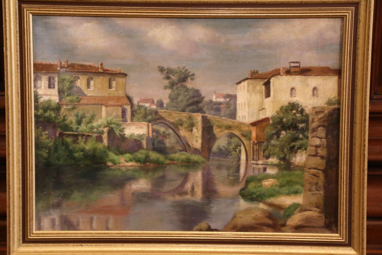 French Early 20th Century Village in Provence Oil on Canvas Painting in Gilt Frame For Sale