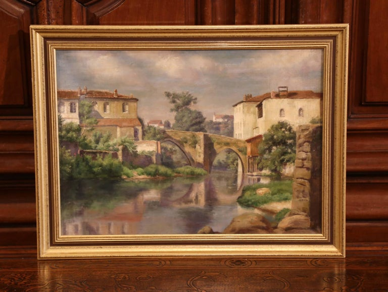 Hand-Painted Early 20th Century Village in Provence Oil on Canvas Painting in Gilt Frame For Sale