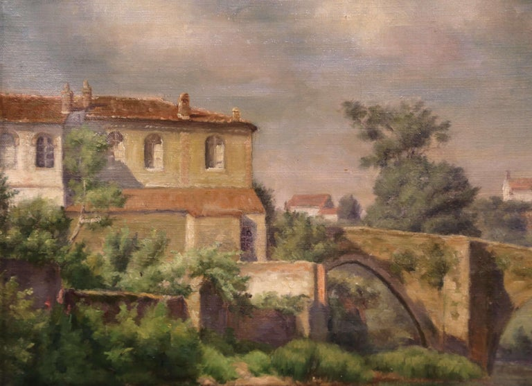 Early 20th Century Village in Provence Oil on Canvas Painting in Gilt Frame In Excellent Condition For Sale In Dallas, TX